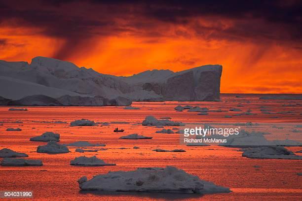 Ilulissat Icefjord at sunset.
