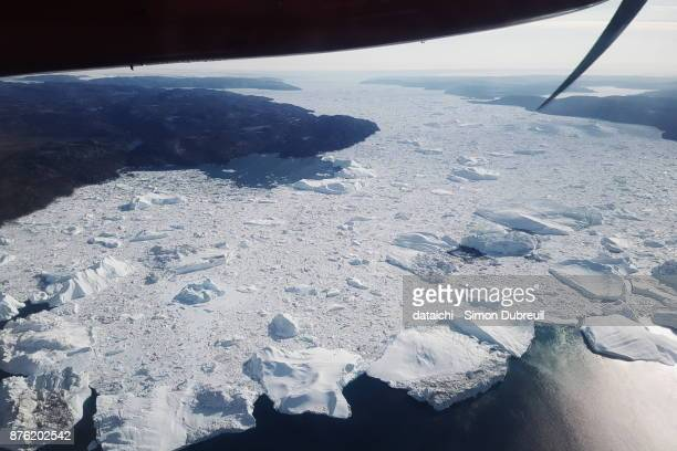 Ilulissat Kangia Icefjord from the air
