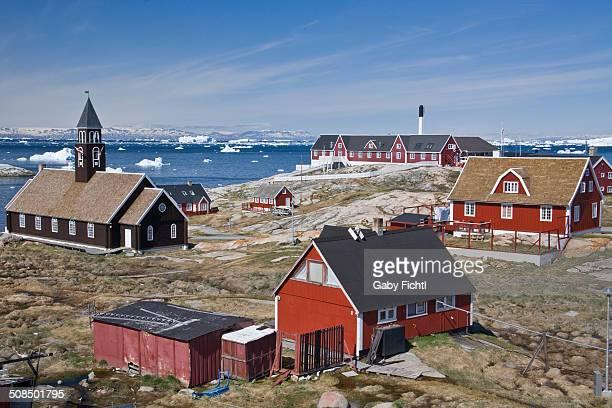 ilulissat with zion church and hospital, greenland - ilulissat stock-fotos und bilder