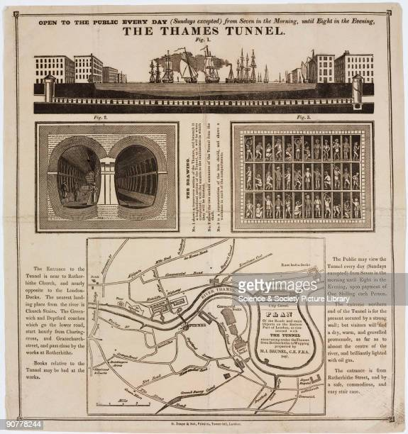 Ilustrated article encouraging readers to visit the construction site of the Thames Tunnel The illustrations show transverse and cross section views...