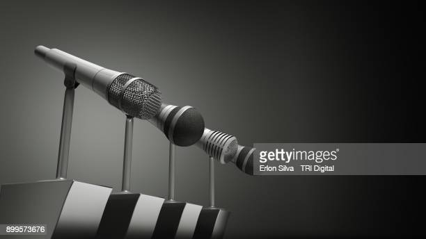 Ilustration of a set of three cardioid microphones