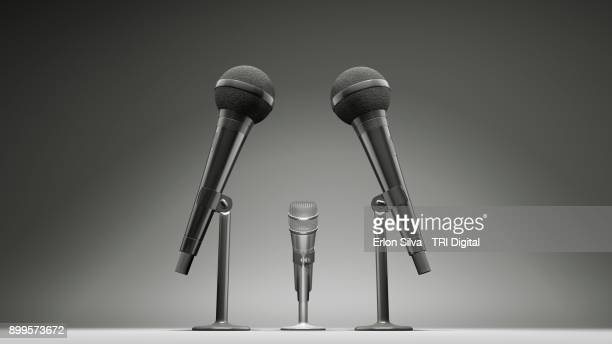 ilustration of two big microfones and one smaller - big mike stock pictures, royalty-free photos & images