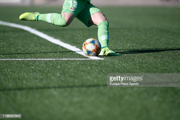 Ilustration Patricia Larque of Rayo Vallecano in action during the Spanish League Primera Iberdrola women football match played between Rayo...