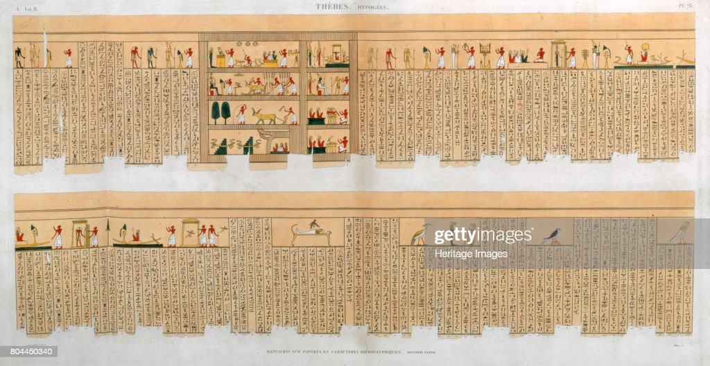 Ilustrations Of A Manuscript With Hieroglyphics From A Tomb At Thebes Egypt 1822 : News Photo