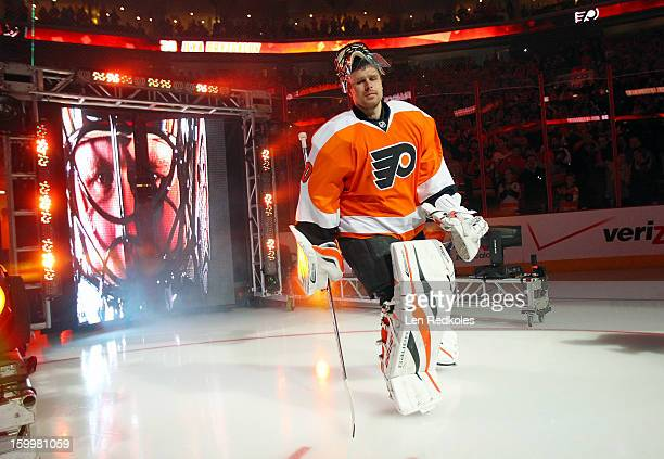Ilya Bryzgalov of the Philadelphia Flyers enters the ice surface prior to his game against the Pittsburgh Penguins on January 19 2013 at the Wells...