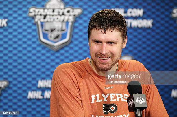 Ilya Bryzgalov of the Philadelphia Flyers speaks to the media after defeating the Pittsburgh Penguins 51 in Game Six of the Eastern Conference...