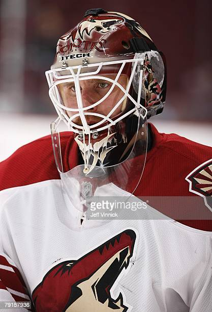 Ilya Bryzgalov of the Phoenix Coyotes looks on during the warm up before their game against the Vancouver Canucks at General Motors Place on January...