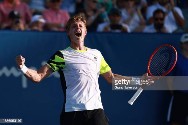 Ilya Ivashka of Belarus reacts after defeating Mikael Ymer of Sweden in the finals of the Winston-Salem Open at Wake Forest Tennis Complex on August...