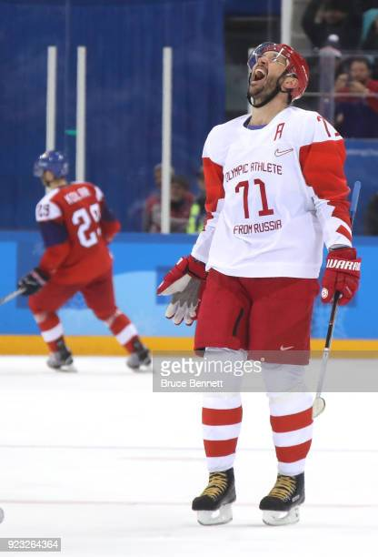 Ilya Kovalchuk of Olympic Athlete from Russia celebrates after scoring an empty net goal in the third period against Czech Republic during the Men's...
