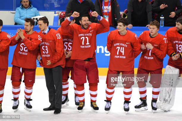 Ilya Kovalchuk of Olympic Athlete from Russia celebrates with teammates during the medal ceremony after defeating Germany 43 in overtime Men's Gold...