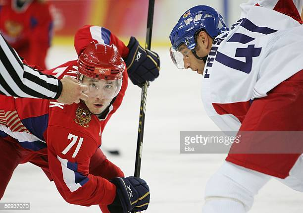 Ilya Kovalchuk of Russia and Vaclav Prospal of Czech Republic face off during the bronze medal match of the men's ice hockey match between Russia and...