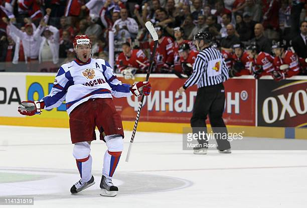 Ilya Kovalchuk of Russia celebrates after he scores hi steam's winning goal during the IIHF World Championship quarter final match between Canada and...