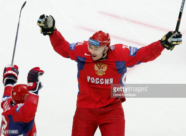 Ilya Kovalchuk of Russia celebrates after his team scored against team Czech during the IIHF World Ice Hockey Championship quarter final match...