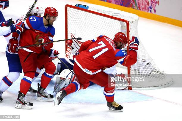 Ilya Kovalchuk of Russia celebrates after scoring a goal in the second period against Lars Haugen of Norway during the Men's Ice Hockey Qualification...