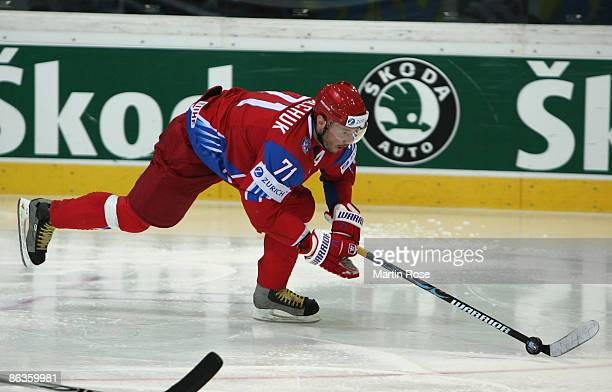 Ilya Kovalchuk of Russia runs with the puck during the IIHF World Ice Hockey Championship qualification round match between Switzerland and Sweden at...