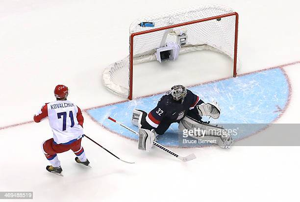 Ilya Kovalchuk of Russia scores on a shootout against Jonathan Quick of the United States during the Men's Ice Hockey Preliminary Round Group A game...