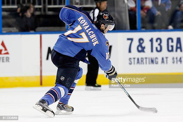 Ilya Kovalchuk of the Atlanta Thrashers against the Carolina Hurricanes during a preseason game at Philips Arena on September 21 2009 in Atlanta...