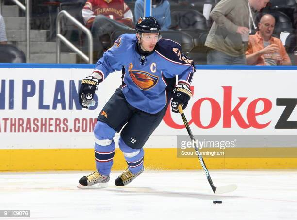 Ilya Kovalchuk of the Atlanta Thrashers carries the puck during the preseason game against the Nashville Predators at Philips Arena on September 23...