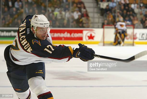 Ilya Kovalchuk of the Atlanta Thrashers follows through on a slap shot against the Toronto Maple Leafs March 29 2004 at Air Canada Centre in Toronto...