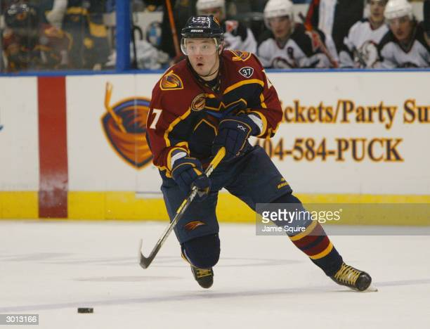 Ilya Kovalchuk of the Atlanta Thrashers skates after the puck during the game against the Buffalo Sabres at Philips Arena on January 20 2004 in...