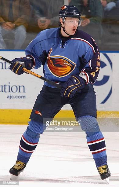 Ilya Kovalchuk of the Atlanta Thrashers skates against the Carolina Hurricanes during the game on April 8 2006 at Philips Arena in Atlanta Georgia...