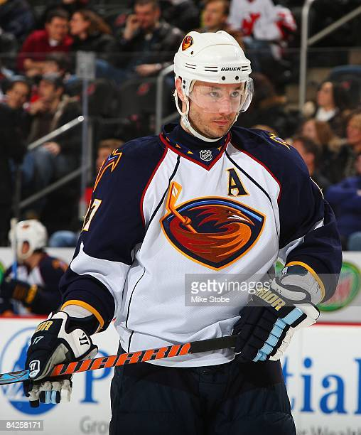 Ilya Kovalchuk of the Atlanta Thrashers skates against the New Jersey Devils at the Prudential Center on January 8 2009 in Newark New Jersey...