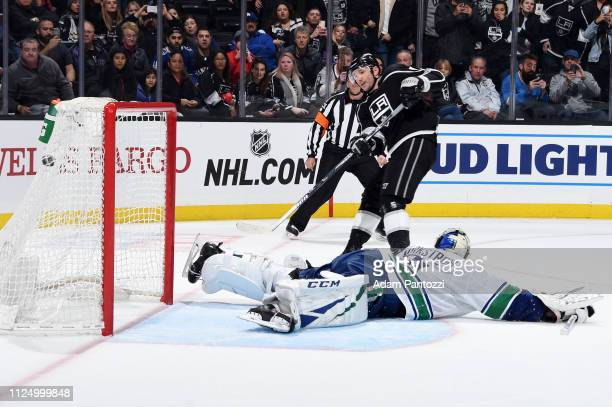 Ilya Kovalchuk of the Los Angeles Kings scores on goaltender Jacob Markstrom of the Vancouver Canucks during a shootout in the game at STAPLES Center...