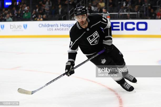 Ilya Kovalchuk of the Los Angeles Kings skates to the puck during the third period of a preseason NHL game against the Arizona Coyotes at Staples...