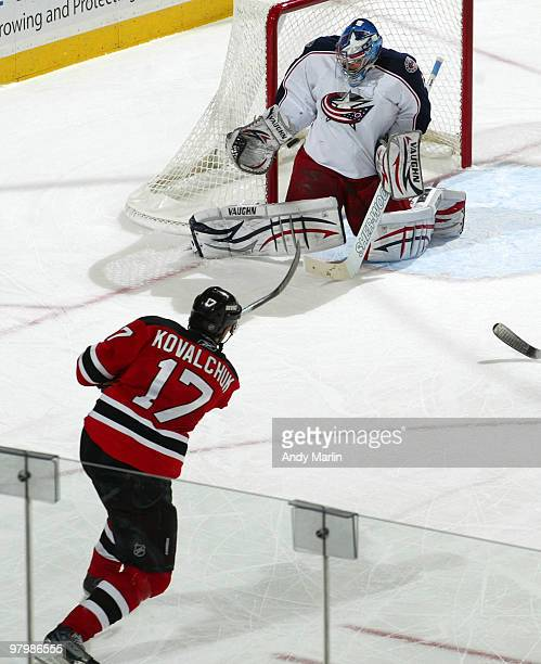 Ilya Kovalchuk of the New Jersey Devils blasts the puck past goaltender Steve Mason of the Columbus Blue Jackets for a second-period power play goal...