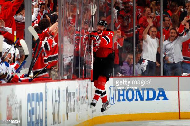 Ilya Kovalchuk of the New Jersey Devils celebrates after scoring a goal in the first period against the New York Rangers in Game Six of the Eastern...
