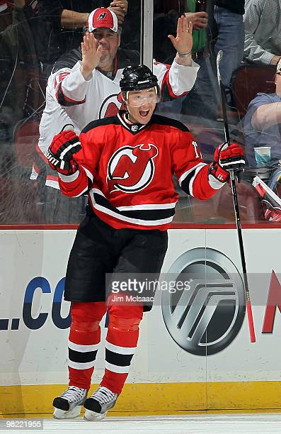 Ilya Kovalchuk of the New Jersey Devils celebrates his first period goal against the Chicago Blackhawks at the Prudential Center on April 2 2010 in...