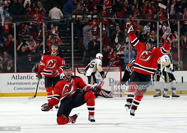 Ilya Kovalchuk of the New Jersey Devils celebrates his game winning goal at 435 of overtime against the Pittsburgh Penguins at at the Prudential...