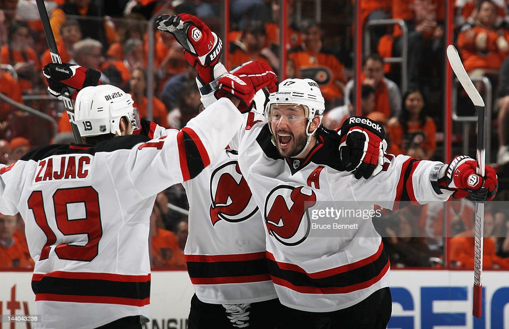 Ilya Kovalchuk #17 of the New Jersey Devils celebrates his powerplay goal at 5:00 of the third period against the Philadelphia Flyers in Game Five of the Eastern Conference Semifinals during the 2012 NHL Stanley Cup Playoffs at Wells Fargo Center on May 8, 2012 in Philadelphia, Pennsylvania.