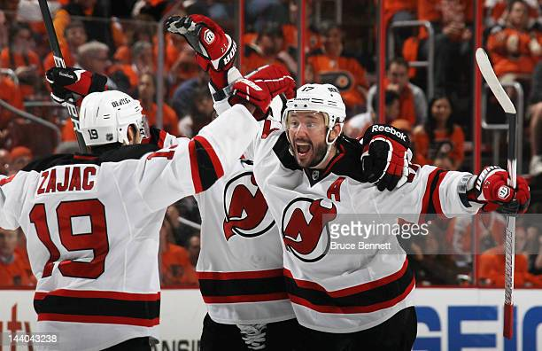 Ilya Kovalchuk of the New Jersey Devils celebrates his powerplay goal at 500 of the third period against the Philadelphia Flyers in Game Five of the...