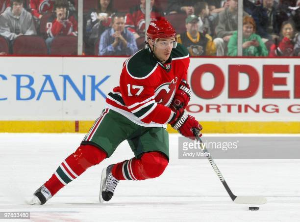 Ilya Kovalchuk of the New Jersey Devils plays the puck against the Pittsburgh Penguins during the game at the Prudential Center on March 17, 2010 in...