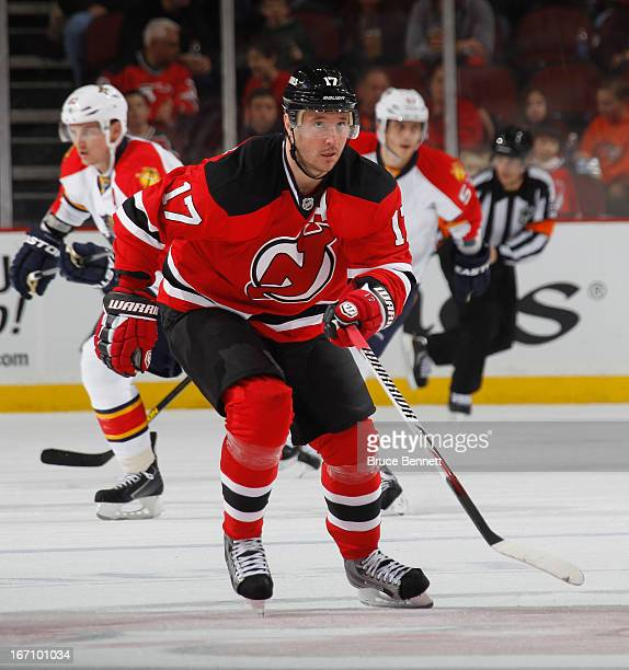 Ilya Kovalchuk of the New Jersey Devils returns from injury to skate against the Florida Panthers at the Prudential Center on April 20, 2013 in...