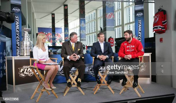 Ilya Kovalchuk of the New Jersey Devils speaks on the NHL Network set with Kathryn Tappen Barry Melrose and Doug Weight during the 2012 Stanley Cup...