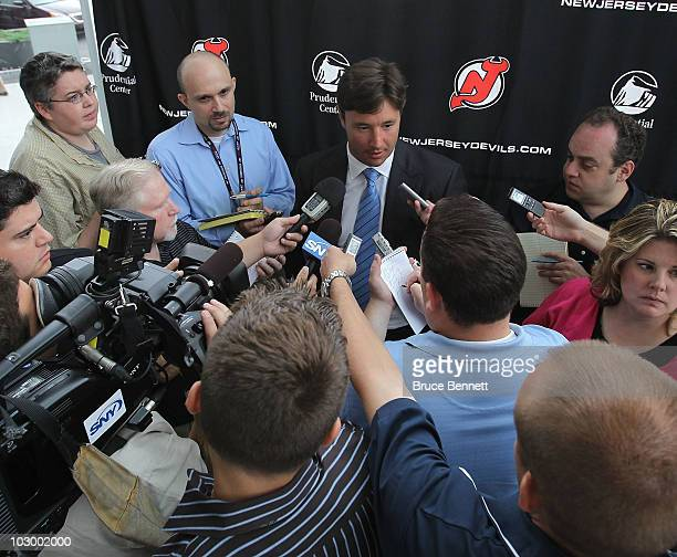 Ilya Kovalchuk of the New Jersey Devils speaks with the media after announcing his contract renewal at the Prudential Center on July 20 2010 in...