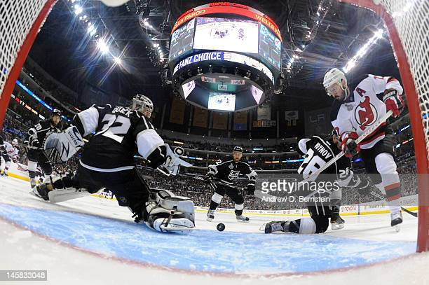 Ilya Kovalchuk of the New Jersey Devils tries to score against Jonathan Quick of the Los Angeles Kings in Game Four of the 2012 Stanley Cup Final at...