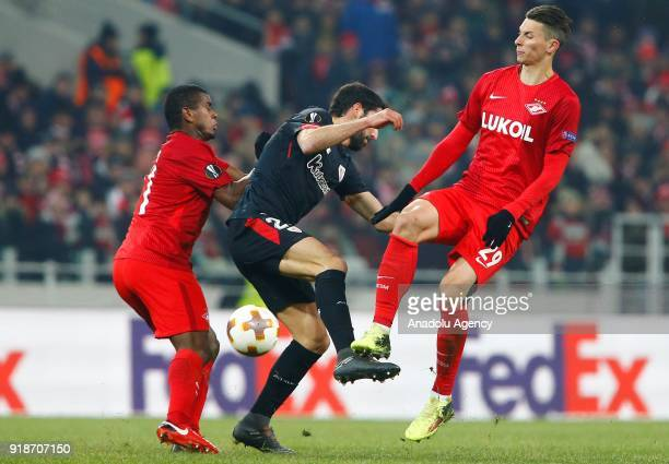 Ilya Kutepov Spartak Moscow in action during the UEFA Europa League round of 32 first leg soccer match between Spartak Moscow and Athletic Bilbao at...