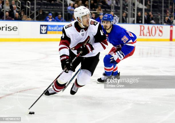 Ilya Lyubushkin of the Arizona Coyotes controls the puck during their game against the New York Rangers at Madison Square Garden on October 22 2019...