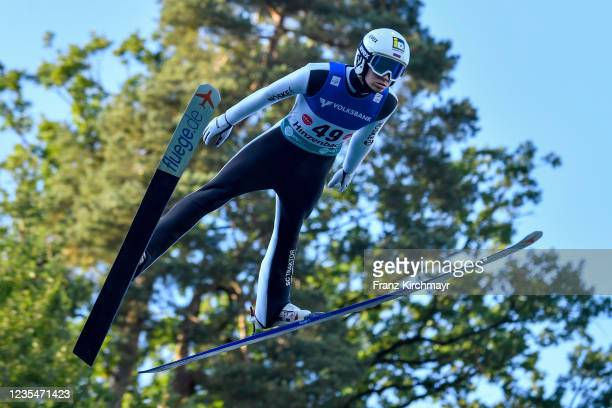 Ilya Mankov of Russia competes during the FIS Grand Prix Skijumping Hinzenbach at on February 6, 2021 in Eferding, Austria.