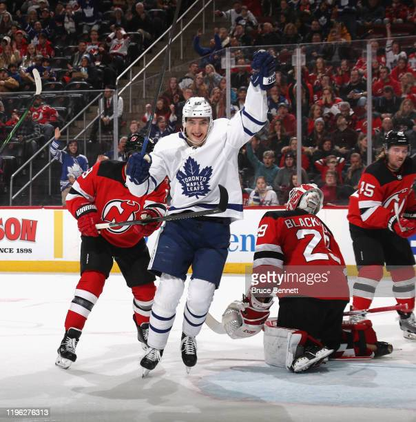 Ilya Mikheyev of the Toronto Maple Leafs celebrates his goal at 1715 of the first period against Mackenzie Blackwood of the New Jersey Devils at the...