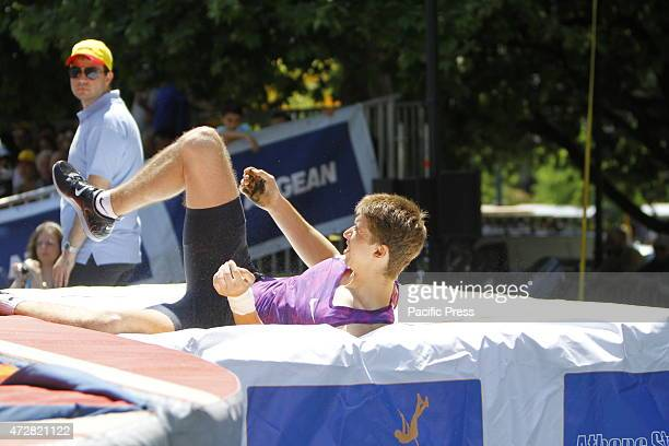 SQUARE ATHENS ATTICA GREECE Ilya Mudrov from Russia lies on the mat after an successful attempt Twelve elite pole vaulters from Greece and Europe...
