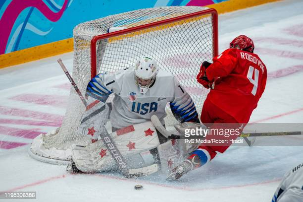 Ilya Rogovski of Russian Federation tries to score against Goalkeeper Dylan Silverstein of United States during Men's 6Team Tournament Bronze Medal...