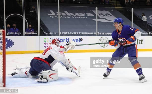 Ilya Samsonov of the Washington Capitals makes a second period breakaway save on Mathew Barzal of the New York Islanders at the Nassau Coliseum on...