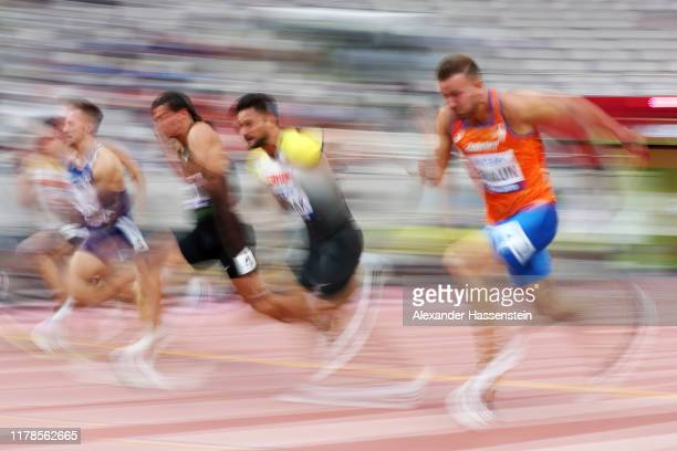 Ilya Shkurenyov of the Authorised Neutral Athletes, Tim Nowak of Germany and Pieter Braun of the Netherlands compete in the Men's Decathlon 100...
