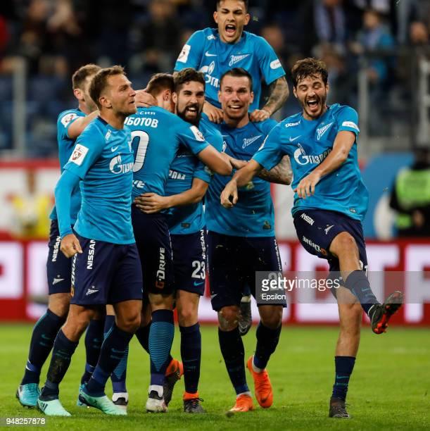 Ilya Skrobotov of FC Zenit Saint Petersburg celebrates his goal with Leandro Paredes Aleksandr Erokhin Anton Zabolotny Domenico Criscito and Miha...
