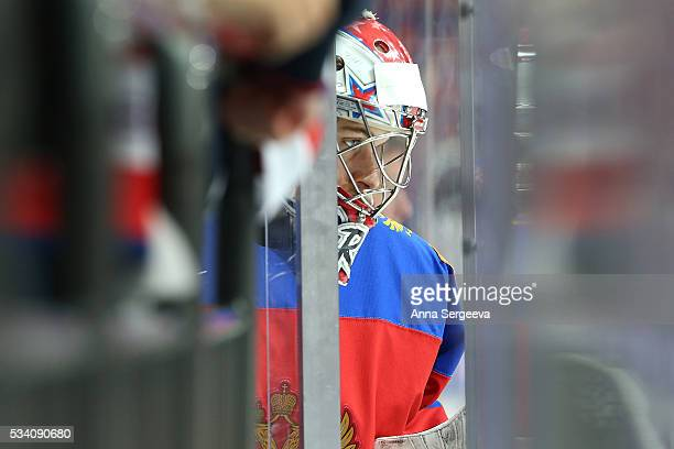 Ilya Sorokin of Russia comes out to the ice prior the game against USA at Ice Palace on May 22 2016 in Moscow Russia