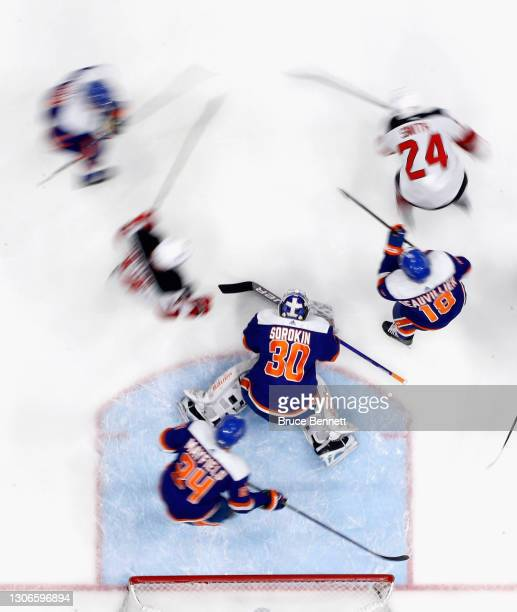 Ilya Sorokin of the New York Islanders defends the net against the New Jersey Devils at the Nassau Coliseum on March 11, 2021 in Uniondale, New York....